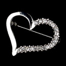 Elegance by Carbonneau Brooch-217-S-Clear * Silver Clear Rhinestone Valentine Love Heart Brooch 217
