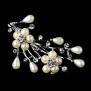 Elegance by Carbonneau Brooch-227-AS-Ivory * Antique Silver Clear Rhinestone & Ivory Pearl Bouquet Brooch 227