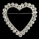 Elegance by Carbonneau Brooch-30250-S-Clear Silver Heart Romance Rhinestone Bridal Brooch 30250