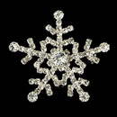 Elegance by Carbonneau Brooch-30326-AS-Clear Silver Snowflake Rhinestone Brooch 30326