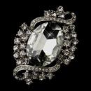 Elegance by Carbonneau Brooch-30586-AS-Clear Antique Silver Clear Rhinestone Vintage Bridal Brooch 30586