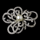 Elegance by Carbonneau Brooch-30624-AS-DW Antique Silver Clear Diamond White Pearl Brooch 30624