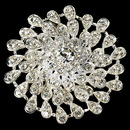 Elegance by Carbonneau Brooch-3171-S-Clear Beautiful Round Silver Rhinestone Bridal Brooch 3171