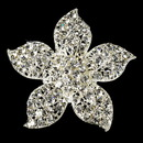 Elegance by Carbonneau Brooch-3174-S-Clear Silver Rhinestone Flower Bridal Brooch 3174