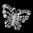 Elegance by Carbonneau Brooch-3178-S-Clear Silver Clear Rhinestone Butterfly Brooch 3178
