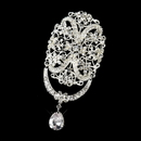 Elegance by Carbonneau Brooch-3237-S-Clear * Silver Clear Rhinestone Brooch 3237