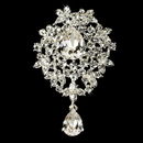 Elegance by Carbonneau Brooch-3438-S-Clear Silver Swarovski Crystal Dangle Brooch 3438