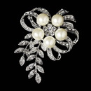 Elegance by Carbonneau Brooch-35-AS-DW Antique Silver Rhinestone & Diamond White Pearl Vintage Vine Bouquet Bridal Brooch 35