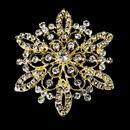 Elegance by Carbonneau Brooch-36-G-Clear Gold Rhinestone Bridal Brooch 36