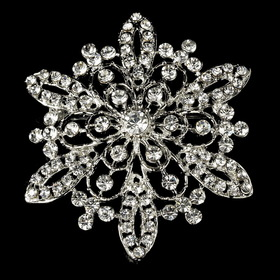 Elegance by Carbonneau Brooch-36-AS-Clear Vintage Rhinestone Bridal Brooch 36 Antique Silver with Rhinestones