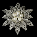 Elegance by Carbonneau Brooch-38-AS-DW Vintage Antique Silver and Rhinestone & Diamond White Pearl Bridal Brooch 38