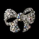 Elegance by Carbonneau Brooch-51-AS-AB Silver Clear AB Bow Brooch Pin 51
