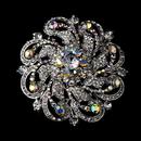 Elegance by Carbonneau Brooch-79-AS-AB Brooch 79 Antique Silver Clear AB Rhinestones