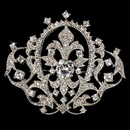 Elegance by Carbonneau Brooch-8007-AS-Clear Elegant Antique Silver Vintage Crown Rhinestone Bridal Pin for Hair or Gown Brooch 8007