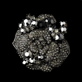 Elegance by Carbonneau Brooch-86-AS-Black Antique Silver w/ Black Rhinestones Brooch 86