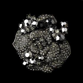 Elegance by Carbonneau Brooch-86-AS-Black Antique Silver w/ Black Rhinestones Brooch 86