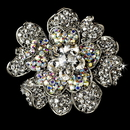 Elegance by Carbonneau Brooch-8779-AS-AB Large Antique Silver Clear and AB Rhinestone Celebrity Style Brooch for Gown or Hair - Brooch 8779
