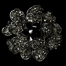 Elegance by Carbonneau Brooch-8779-AS-Black Large Antique Silver with Black Rhinestone Celebrity Style Brooch for Gown or Hair - Brooch 8779