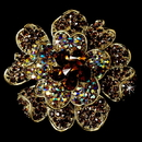 Elegance by Carbonneau Brooch-8779-G-Topaz Large Gold Brown Rhinestone Celebrity Style Brooch for Gown or Hair - Brooch 8779