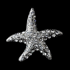 Elegance by Carbonneau Brooch-93-AS-Clear Antique Silver Clear Rhinestone Starfish Brooch 93