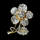 Elegance by Carbonneau Brooch-94-G-Clear Gold Clear Rhinestone Flower Brooch Pin 94