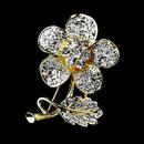 Elegance by Carbonneau Brooch-94-G-Clear Gold Clear Rhinestone Flower Brooch Pin 94