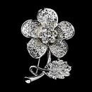 Elegance by Carbonneau Brooch-94-AS-Clear Antique Silver Clear Rhinestone Flower Brooch Pin 94
