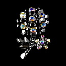 Elegance by Carbonneau Brooch-96-AS-Black Antique Silver Black Aurora Borealis Rhinestone Flower Brooch Pin 96