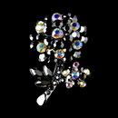 Elegance by Carbonneau Brooch-96-AS-Black Antique Silver Black Aurora Borealis Rhinestone Flower Brooch Pin 96