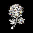 Elegance by Carbonneau Brooch-96-AS-AB Antique Silver Clear Aurora Borealis Rhinestone Flower Brooch Pin 96