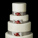 Elegance by Carbonneau Cake-Brooch-123 Decorative Red & Gold Clear Rhinestone Hat Society Brooch 123