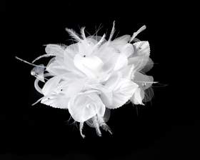 Elegance by Carbonneau Clip-1142 Bridal Flower Headpiece with Crystals & Feathers Clip 1142 White or Ivory