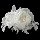 Elegance by Carbonneau Clip-1420-DW Ivory Satin Lace Tulle Rose Clip with Pearl & Rhinestone Accents