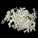 Elegance by Carbonneau Clip-24-IV Light Ivory Lace Fabric w/ Pearl & Swarovski Crystal Bead Floral Spray Accent Hair Clip 24