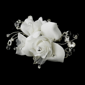 Elegance by Carbonneau Clip-2530 Rhinestone & Crystal Bead Flower Bridal Hair Clip 2530