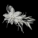 Elegance by Carbonneau Clip-2664 Silver Ivory Feather, Crystal & Rhinestone Flower Hair Clip 2664
