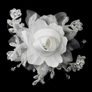 Elegance by Carbonneau Clip-2705 Rhinestone, Crystal, Lace, Satin & Organza Flower Bridal hair Clip 2705