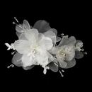 Elegance by Carbonneau Clip-3555 Crystal, Rhinestone, Lace & Organza Clip 3555 with Brooch Pin