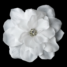 Elegance by Carbonneau Clip-407-White White Jeweled Delphinium Medium Alligator Hair Clip 407 with Brooch Pin