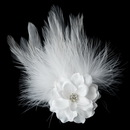 Elegance by Carbonneau Clip-420-White Petite Flower Feather Fascinator Bridal Wedding Day Hair Clip - Clip 420 White