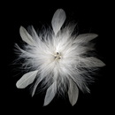 Elegance by Carbonneau clip-442-ivory Bridal Crystal Feather Fascinator Clip 442 with Brooch Pin ( Ivory White Red Black or Cafe )