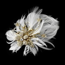 Elegance by Carbonneau Clip-456-Gold Glamorous Gold Bridal Hair Clip with Brooch Pin and Clear Rhinestones & Ivory Feathers 456