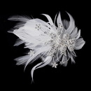 Elegance by Carbonneau clip-456-silver-white Feather Silver Crystal Bridal Hair Clip 456 with Brooch Pin