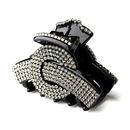 Elegance by Carbonneau Clip-468-Black Exquisite Black Hair Clip w/ Smoked Grey Rhinestones 468