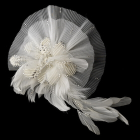 Elegance by Carbonneau Clip-471-Ivory Ivory Clip Fascinator 471