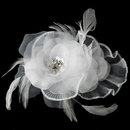 Elegance by Carbonneau Clip-475 Floral Rhinestone Bridal Feather Fascinator Hair Clip 475
