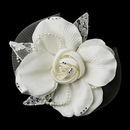 Elegance by Carbonneau Clip-485-Ivory Ivory Pearl & Rhinestone Lace & Mesh Bridal Flower Hair Clip with Brooch Pin 485