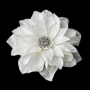 Elegance by Carbonneau Clip-517-Ivory Rhodium Dahlia Hair Clip 517 or Clip Brooch with Ivory Petals & Sparkling Crystals