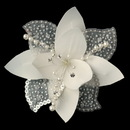 Elegance by Carbonneau Clip-779-Ivory Flower Fascinator with Pearl & Swarovski Crystal Bead Hair Clip 779
