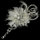 Elegance by Carbonneau Clip-8105 Vintage Bridal Feather Hair Fascinator with Dangling Crystals Clip 8105 with Brooch Pin